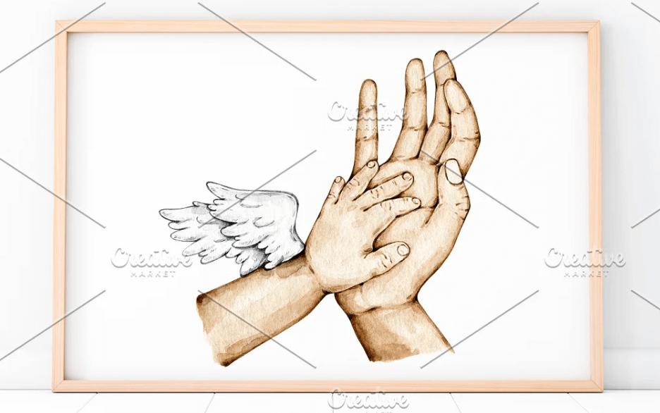 Mom & Newborn Angel Hands Watercolor