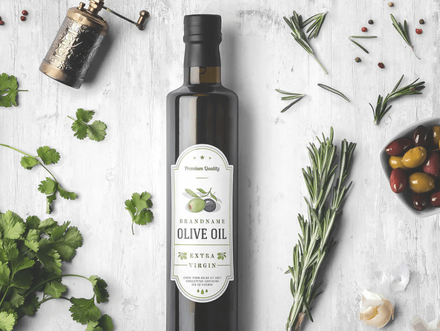 Oil Bottle and Spices Packaging Mockup