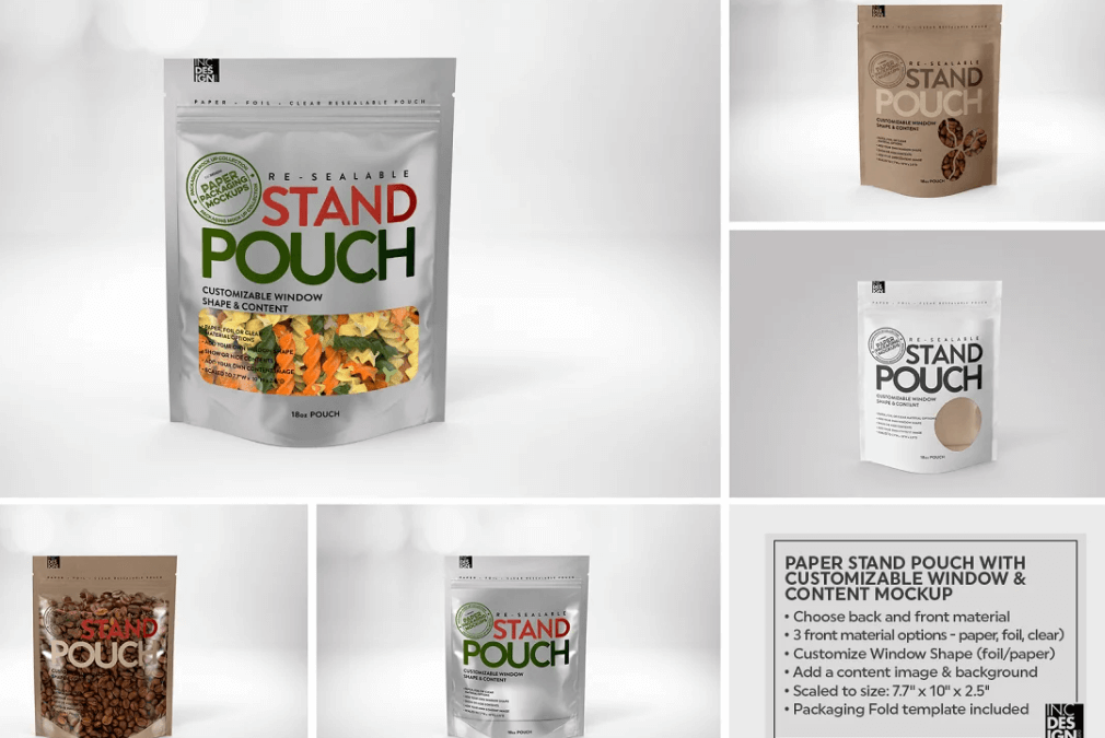 Paper 18oz ZipPouch Packaging Mockup