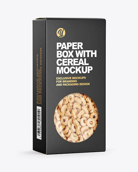 Paper Box with Breakfast Cereal Mockup (1)