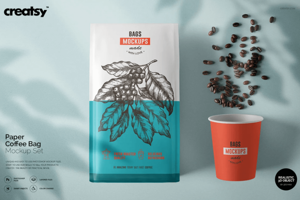Paper Coffee Bag And Cup Mockup Set