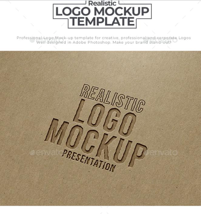Paper Engraved Logo Mockup