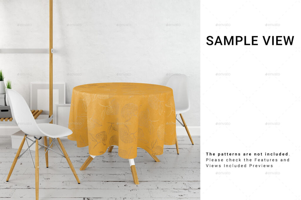 Round Tablecloth in Kitchen Mockup Set (1)