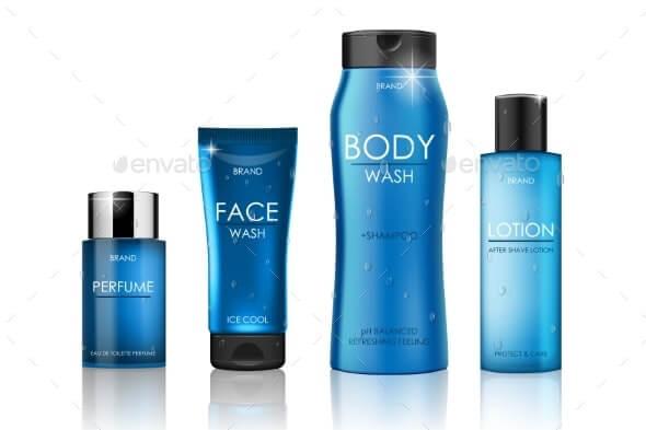 Set of Blue Cosmetic Bottles Packaging Mockup (1)
