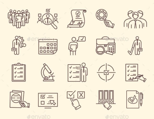 Set of Line Icons for Inspections (1)