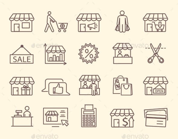 Set of Line Icons for a Market with Stalls (1)