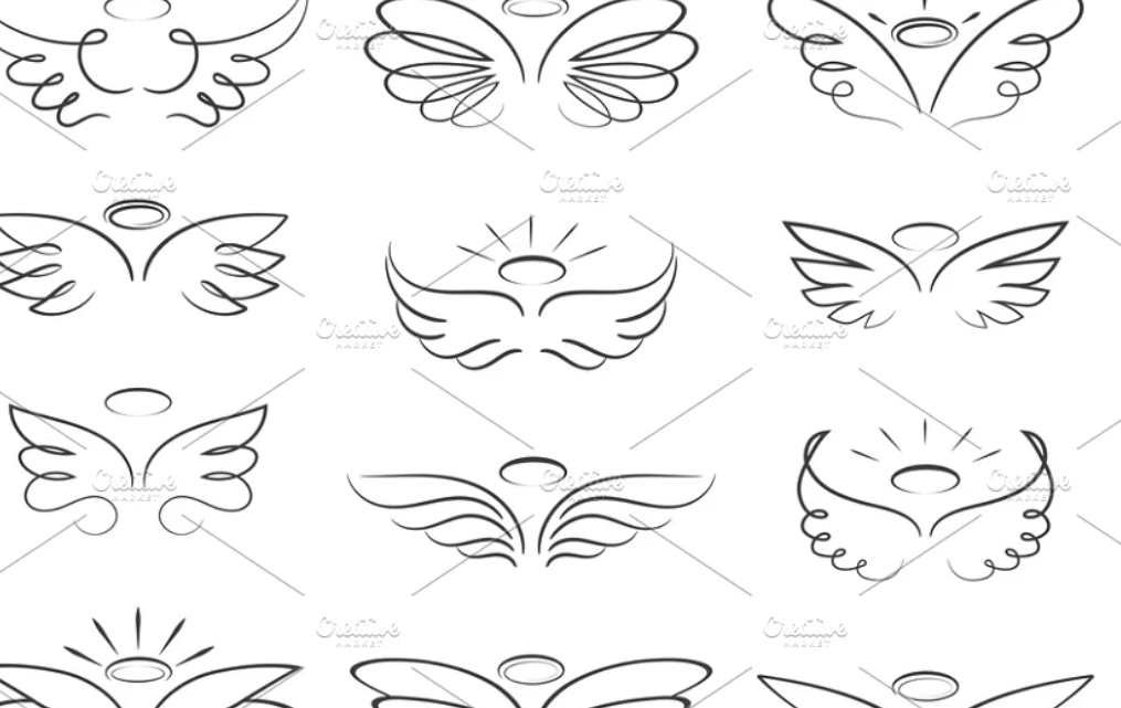 Sketch angel wings in cartoon style