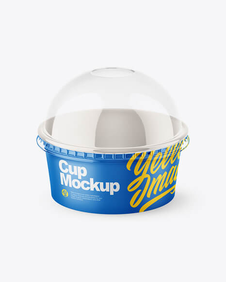 Small Matte Paper Cup With Transparent Plastic Cap Mockup - Half Side View (1)