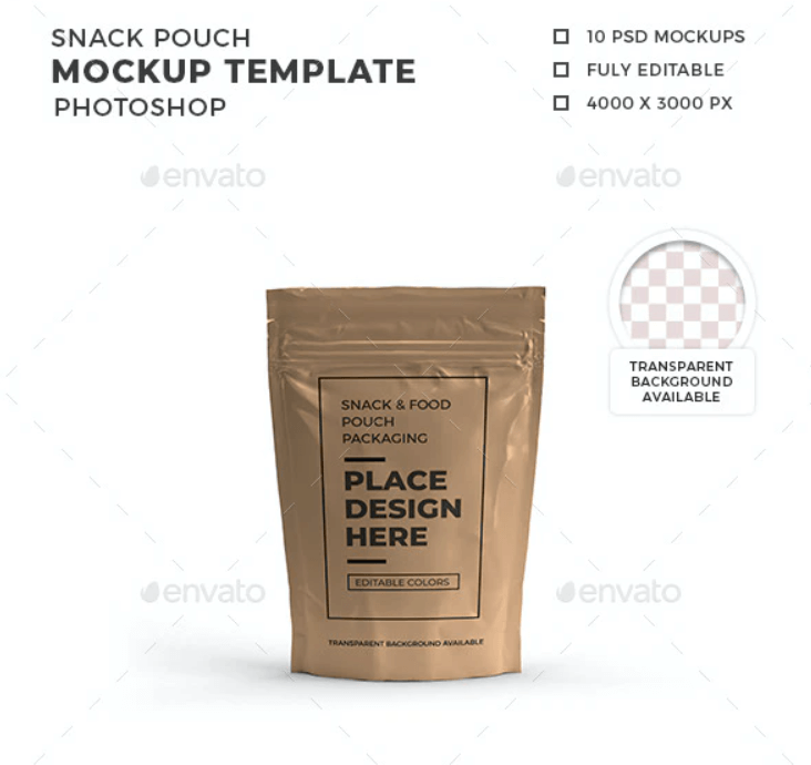 Snack Pouch Packaging Mockup Template
