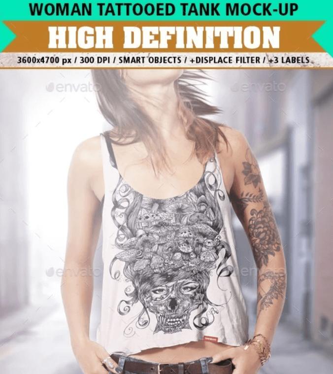 Tank Top Mock-Up Tattooed Woman