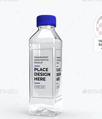 Transparent Plastic Bottle Packaging Mockup Set
