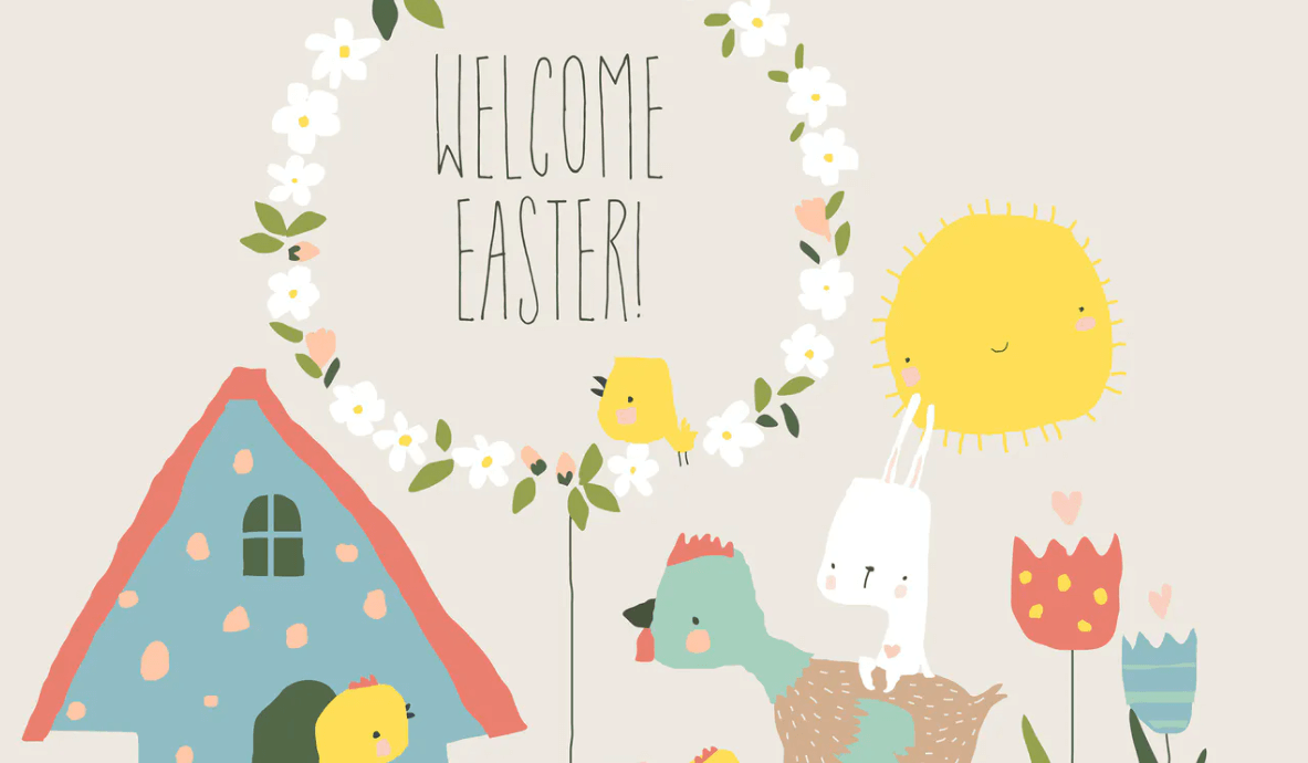 Vector Cartoon Easter illustration with chicken an