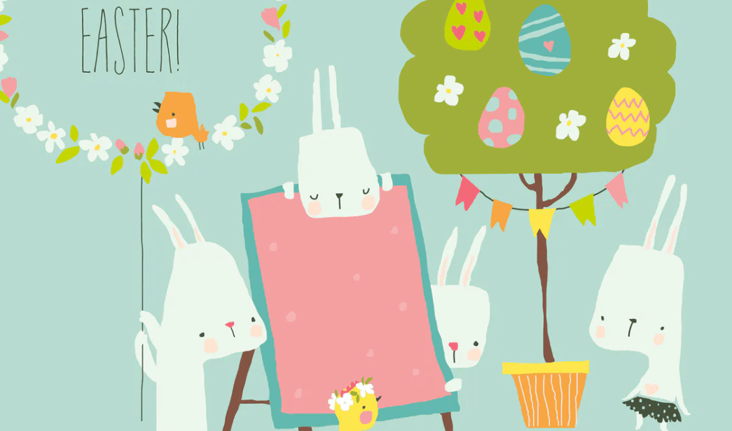Vector Cartoon Easter illustration with rabbits an