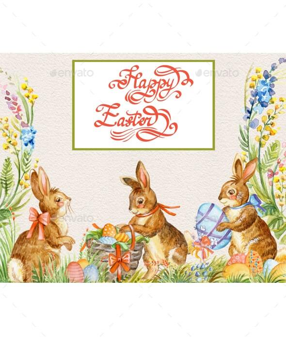 Watercolor illustration with rabbits (1)