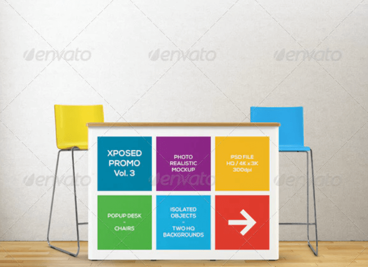 Xposed Promo Vol.3 Popup Desk and Chairs Mockup