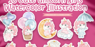 cute unicorn girls watercolor illustration