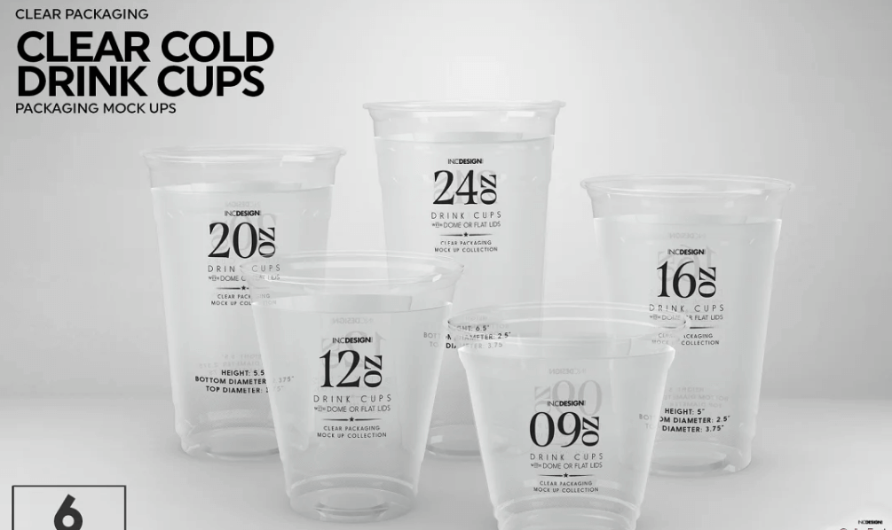 Clear Cold Drink Cups Mockup