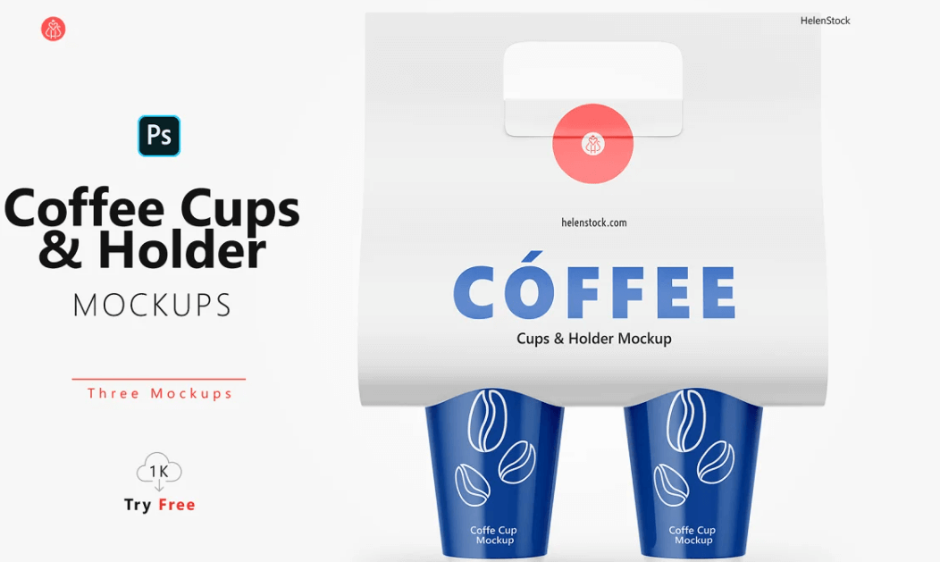 Coffee Cups and Holder Mockups Front