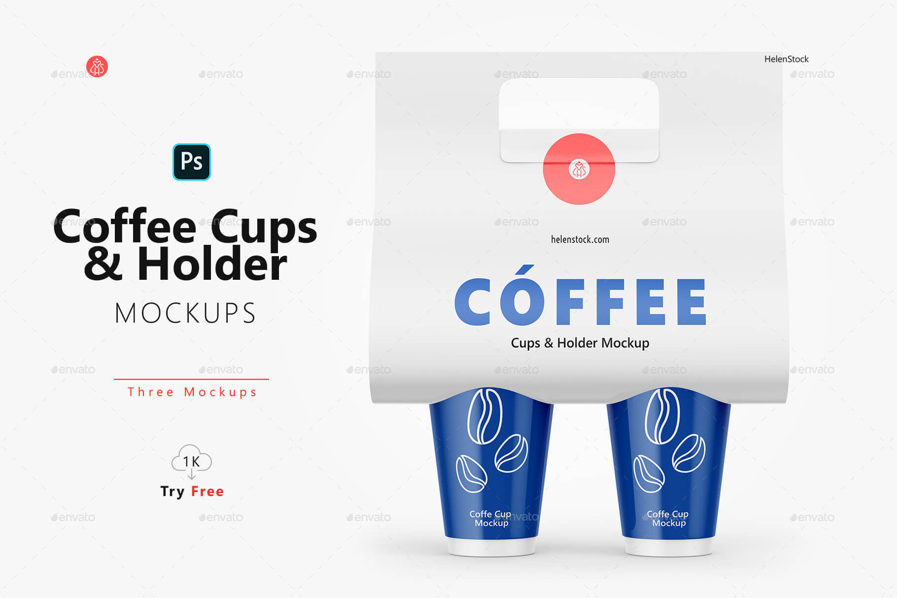 Coffee Cups with Holder Mockups - Front View (1)