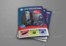 Computers and Electronics Products Catalog Bi-Fold Brochure Template (1)