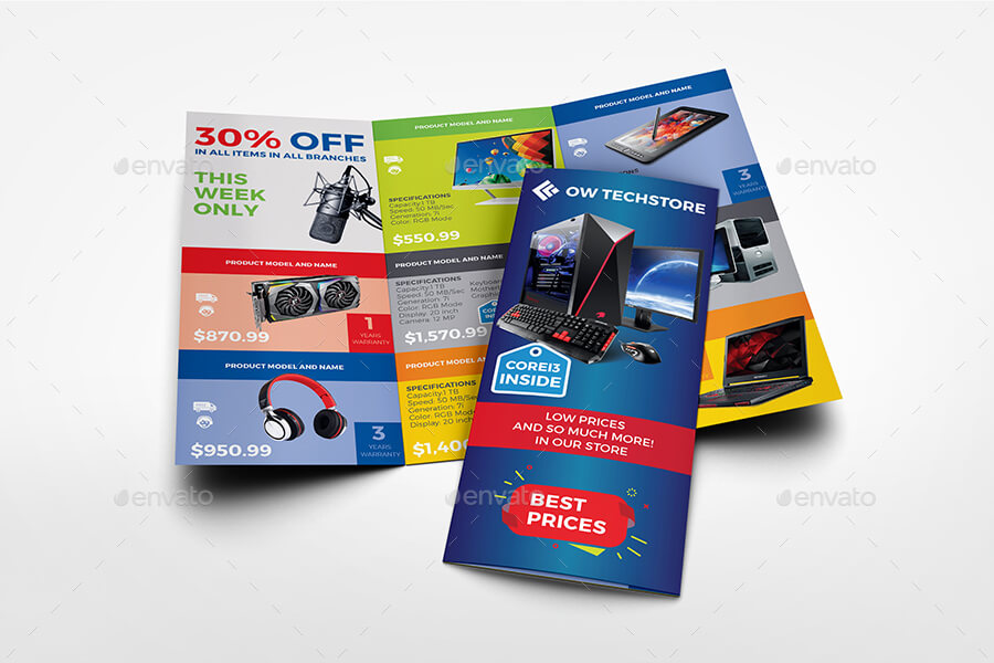 Computers and Electronics Products Catalog Tri - Fold Brochure Template (1)