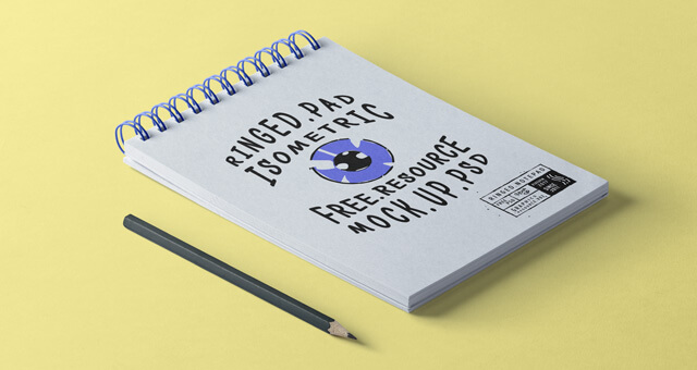 Free Isometric Ringed Notepad Mockup PSD Template (1)