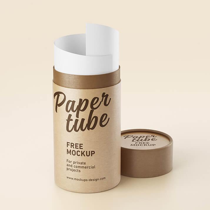Free Long Paper Tube Mockup PSD Template (1)