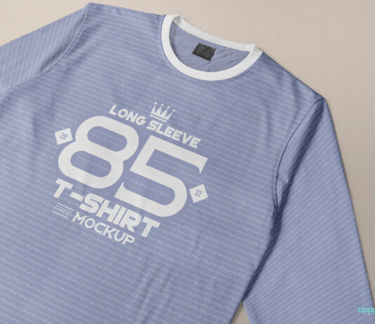 Free Long Sleeve T-shirt Mockup PSD Template (2)