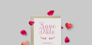 Free Save The Date Invitation Card Mockup PSD Template (1)