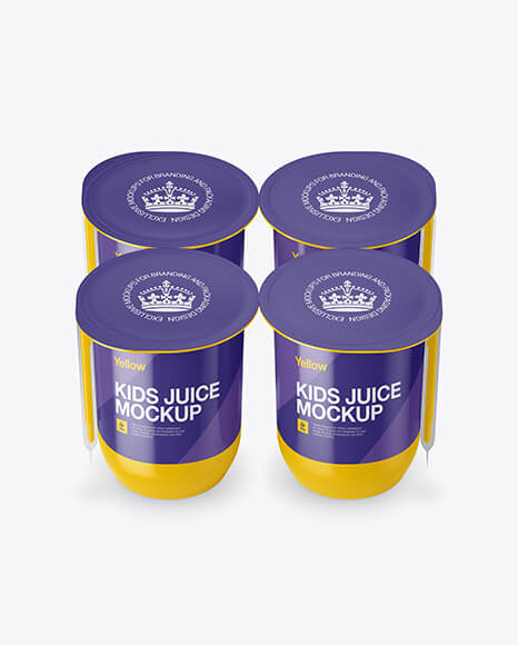 Glossy Plastic 4 Pack Juice Cup Mockup - Front View (High-Angle Shot) (1)