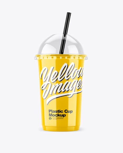 Glossy Plastic Cup with Transparent Cap Mockup (1)
