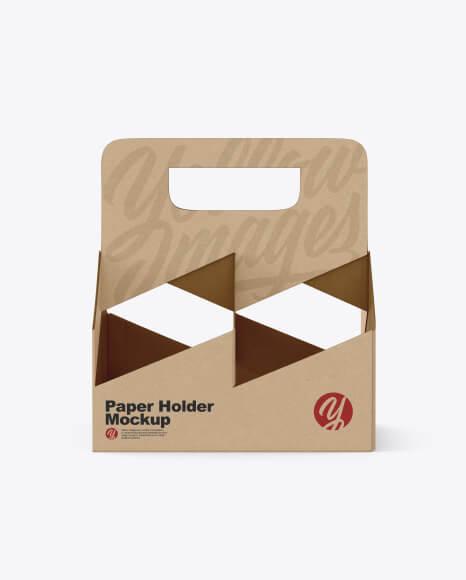 Kraft Coffee Cup Holder Mockup (1)