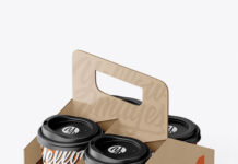 Kraft Coffee Cup Holder W Matte Cups Mockup (1)