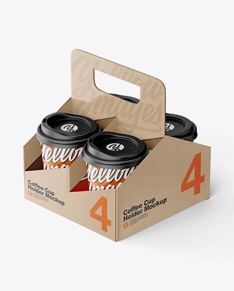 Kraft Coffee Cup Holder W Matte Cups Mockup (1)