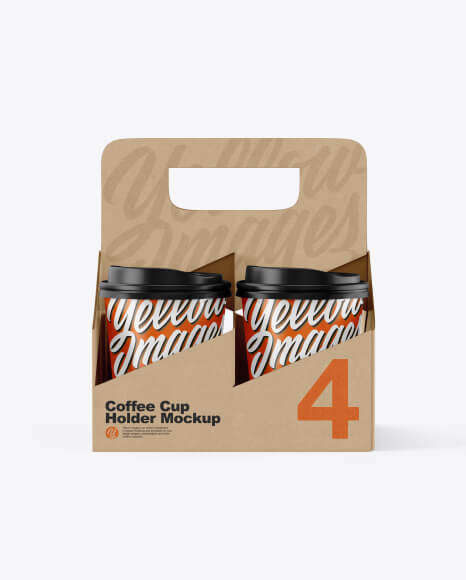 Kraft Coffee Cup Holder W Matte Cups Mockup - Front View (1)