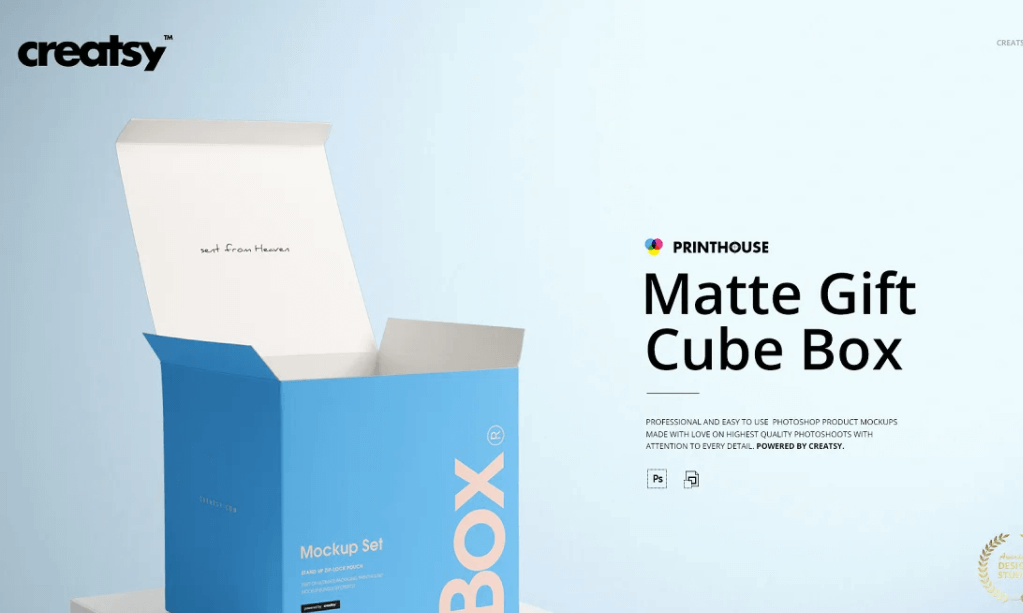 Matte Gift Square Box Mockup Set