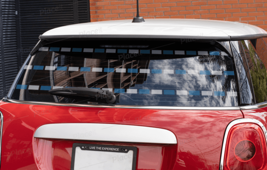 Mockup of a Rear Window Decal Placed on a Subcompact Vehicle
