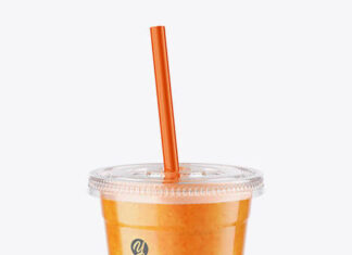 Orange Smoothie Cup with Straw Mockup (1)