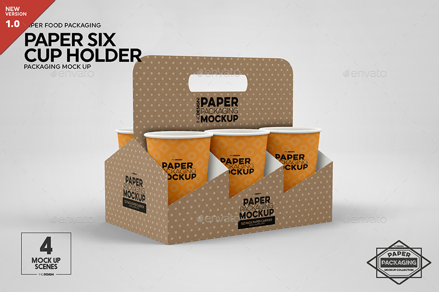 Paper Six Cup Carrier Holder Packaging Mockup (1)