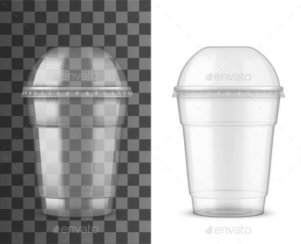 Plastic Cup and Dome Lid, Package Realistic Mockup (1)