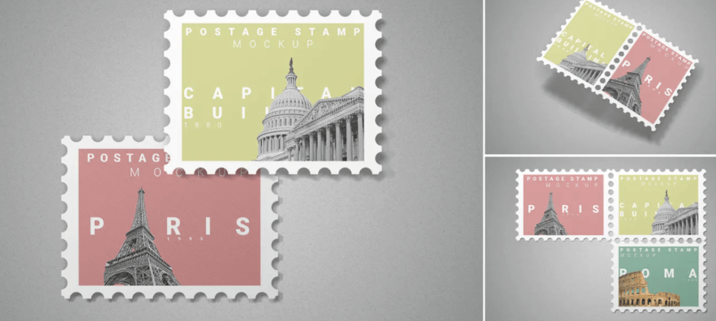 Postage Stamp Mockup 10 PSD Files