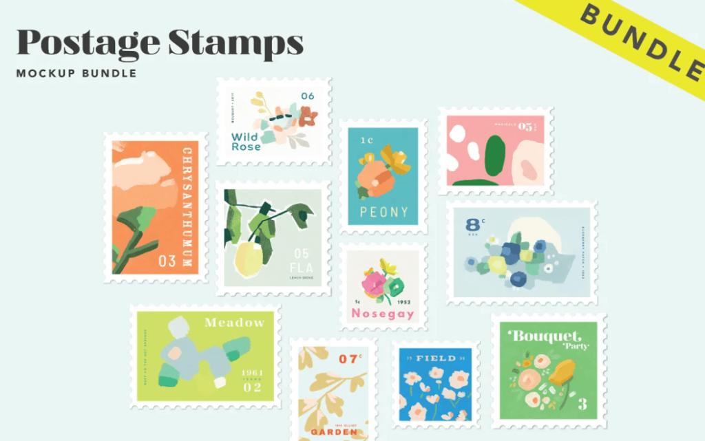 Postage Stamp Mockup Bundle