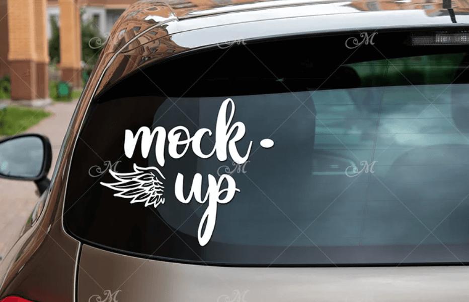 Rear Window Car Mock-up #2. PSD+JPG