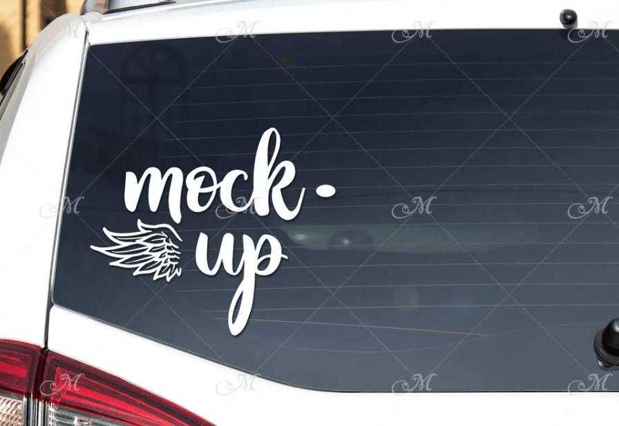 Rear Window Car Mock-up #3. PSD+JPG