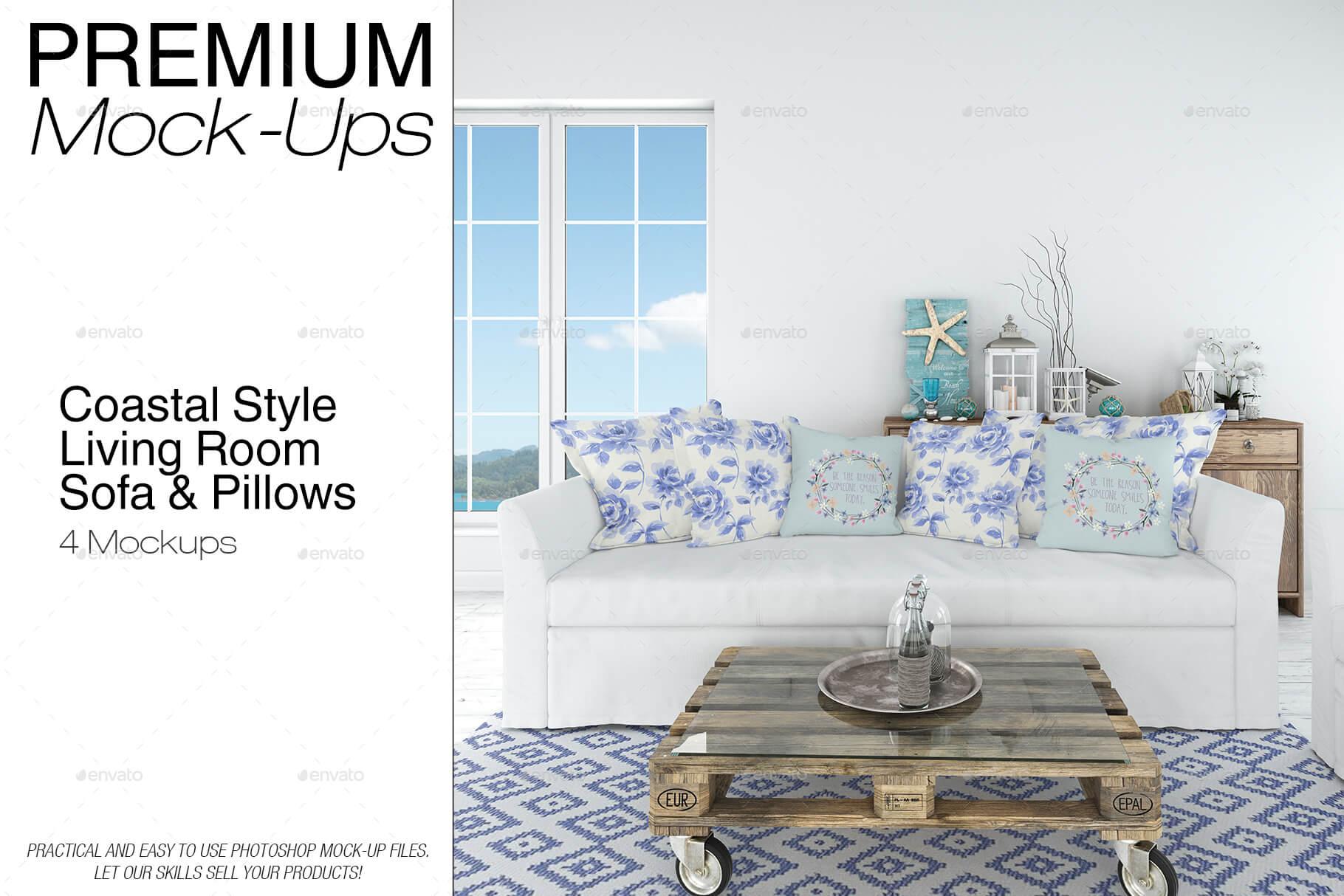 Sofa & Pillows Set - Coastal Style (1)