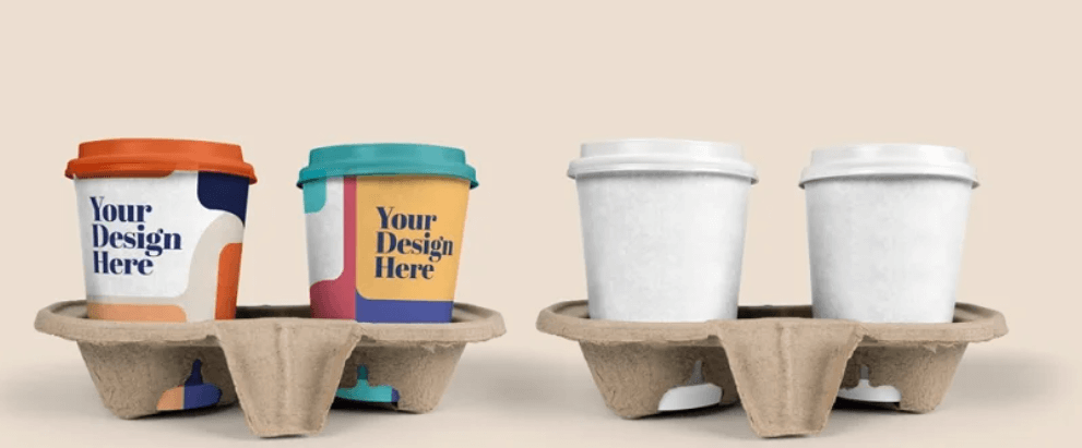 Takeout Cup Coffee in Holder Mockup