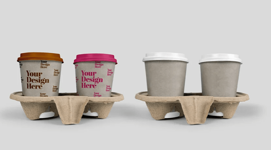 Takeout Cup Coffee in Holder Mockup1