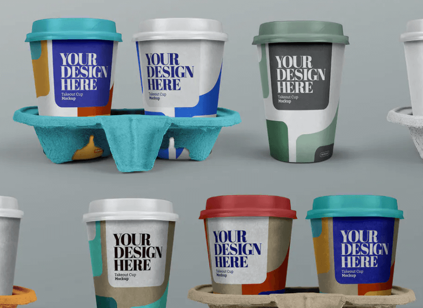 Takeout Cup Mockup - Coffee, Holder Set