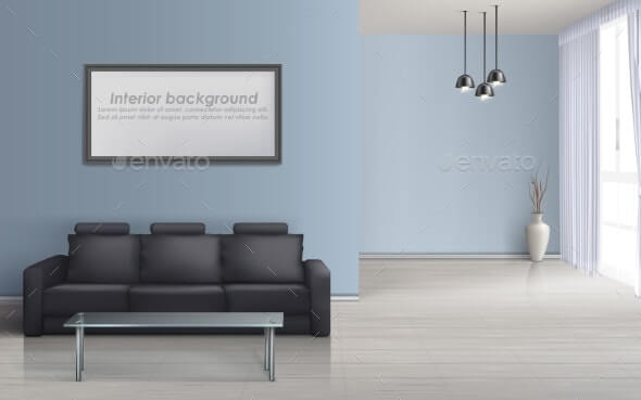 Vector Interior Mockup of Living Room with Sofa (1)