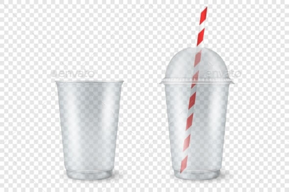 Vector Realistic Empty Clear Plastic Cup (1)
